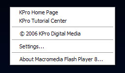 [showing the custom Flash context menu on KProDigital.com]